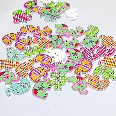 50PCS Wooden 2 Holes Bulk Cute Mixed Elephant Sewing Baby Scrapbooking Buttons