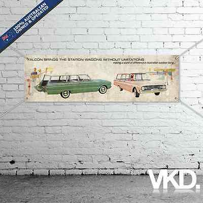 Vintage Look Ford Banner - Man Cave Work Garage Station Wagon Ute XK Falcon Old
