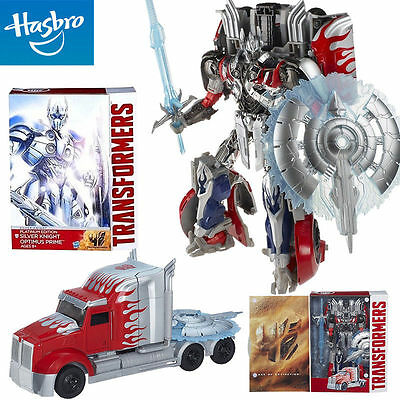 Transformers Platinum Edition Silver Knight Optimus Prime Leader Action Figures