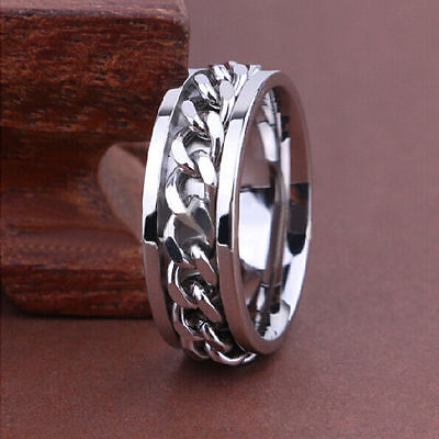 10pcs Top Quality Comfort-fit Spinner Silver Chain Men's Stainless Steel Rings