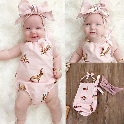 Newborn Toddler Baby Girls Clothes Bodysuit Romper Jumpsuit Playsuit Outfits Set