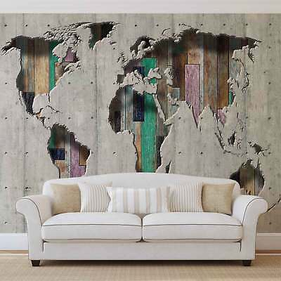 WALL MURAL PHOTO WALLPAPER XXL World Map Wood Planks (3134WS)
