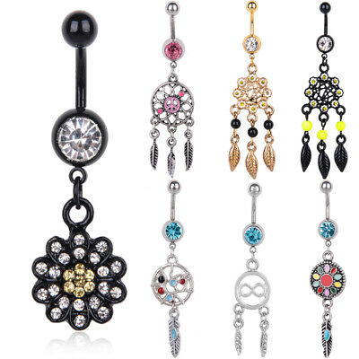 New Navel Belly Ring Rhinestone Button Bar Barbell Body Piercing Jewelry Good