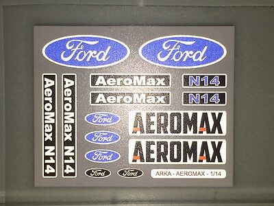 TAMIYA 1/14 FORD AEROMAX 56309 - CHROME / REFLECTIVE stickers logos mudflaps set