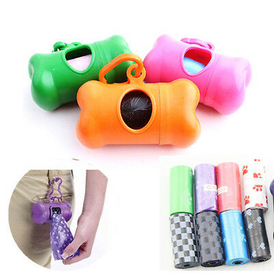 Dog Poop Bags Biodegradable Case Bone Type Leash Dispenser For Pet Pooper US