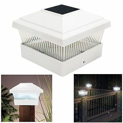 Solar LED Powered Light Garden Deck Cap Outdoor Decking Post Square Fence Lamp