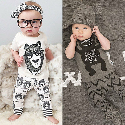 Baby Newborn Boy Warm Lovely Top Blouse T-Shirt Pants Trousers Outfits Set