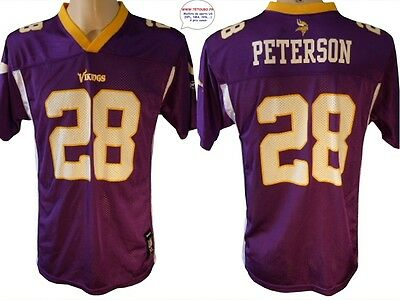 Maillot nfl Foot US américain VIKINGS N°28 Peterson Taille 10 12 ans (fr)