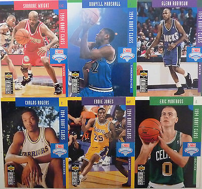 Lot 6 Cartes cards basket NBA Upper Deck UD 1994 Rookie RC Draft Class DC