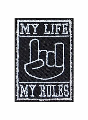 My Life My Rules Devilhand Biker Patches Aufnäher Bügelbild Mc Heavy Metal Music