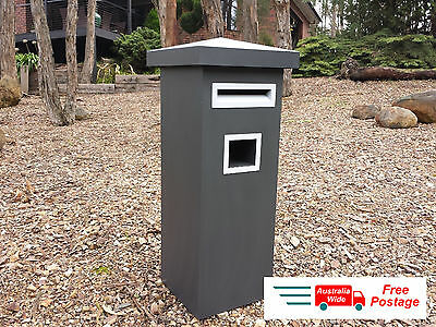 Grey Letterbox Mail Box Mailbox Post Powdercoated Monument Pier Pedistal