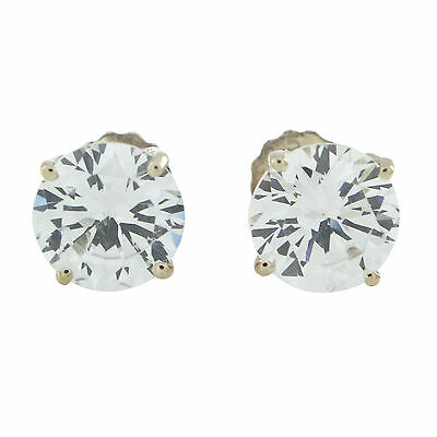 4.00Carat Round Cut Solitaire Stud Earrings ScrewBack Solid 10k Real Gold