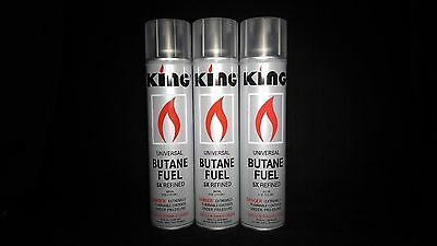 KING,3 Cans Lighter Gas Refill Butane Universal Fluid Fuel Ultra Refined 300 ml