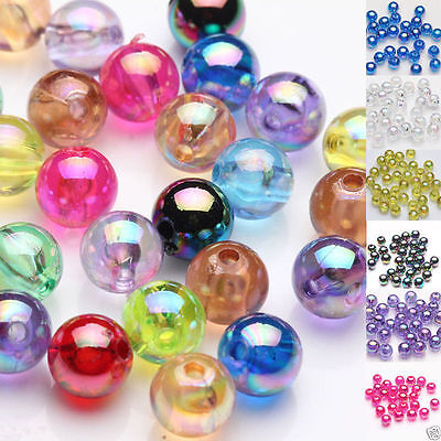 100Pcs Plated AB Acrylic Round Loose Spacer Beads Jewelry Finding DIY Crafts 8MM