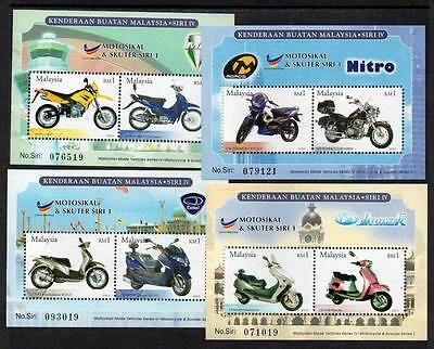 MALAYSIA MNH 2003  Malaysian made Motorcycles and Scooters Minisheets