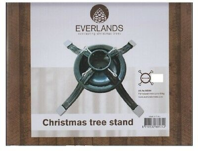 "Everlands Metal Christmas Tree Stand Holds Width Up To 12.5cm 5"" Holder Green"