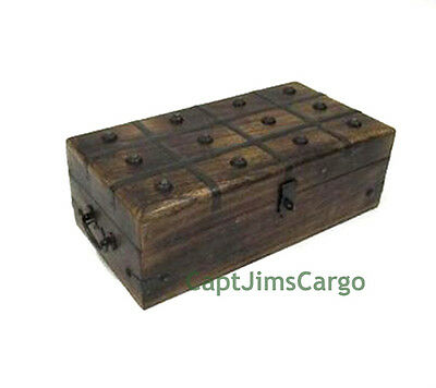 "Pirate Treasure Chest 12"" Nautical Storage Keepsake Box Wooden Trunk Decor New"