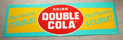 Double Cola Embossed Grocery Store Sign 14X42 Beautiful Colors & Graphics Usa
