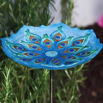 "Scalloped Edge Peacock Glass Birdbath on 26"" Stake 11"" Diameter Bowl"