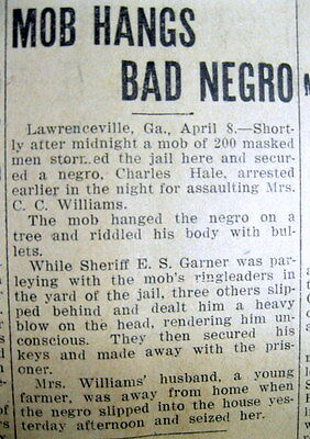 1911 newspaper Negro LYNCHED at LAWRENCEVILLE Georgia for rape of a White woman