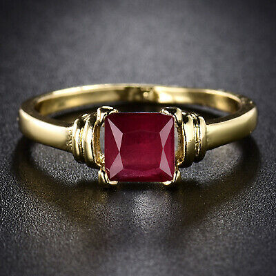 Vintage 24k Yellow Gold Filled Red Sapphire Ruby-Color Prince Cut Women Rings