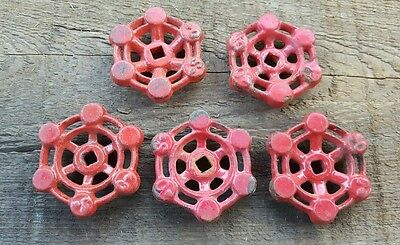Vtg Water Valve Handles Knobs Steampunk Red Industrial Altered Art Lot of 5