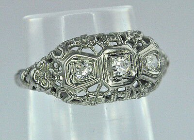 Antique Old Cut White Sapphire & Diamond Floral Bow 18K White Gold Filigree Ring