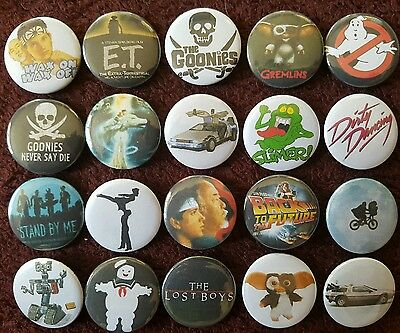 80's Classic Movies Button Badges x 20 (SET 1). Pins. Wholesale. Bargain :0)