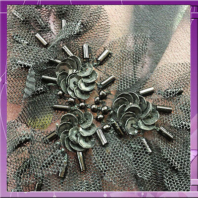 Hand Beaded With Bugle Beads Silk Fabric 44 Inches Wide Sold Bty Black