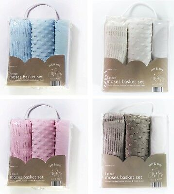 NEWBORN BABY 3pc Moses Basket Set Bedding Cellular & Bubble Blanket Fitted Sheet