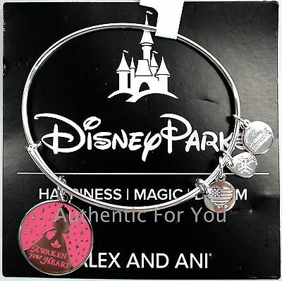 NEW Disney ALEX AND ANI Aurora Awaken Your Heart Pink Enamel Silver Bracelet