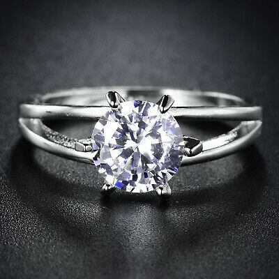 Stunning 8mm Clear Sapphire Diamond Crystal 18k White Gold Filled Women Rings