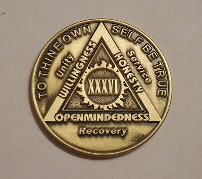 aa bronze alcoholics anonymous 36 year sobriety chip coin token medallion