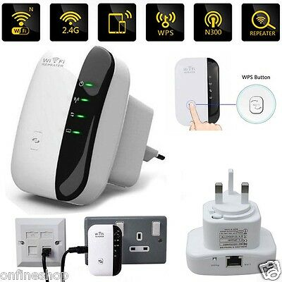 300Mbps Wifi Repeater Router Wireless-N AP Range 802.11 Signal Extender Booster