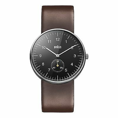 Braun Men's Classic Watch with Black Dial & Brown Leather Strap BN0024BKBRG