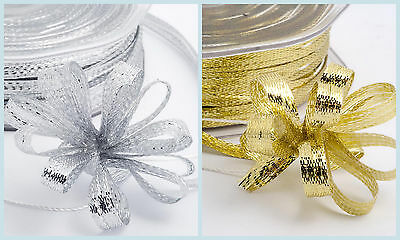 Gold/Silver Metallic Pull Bow Ribbon - 7mm x 50m Wedding Gifts Favour Boxes