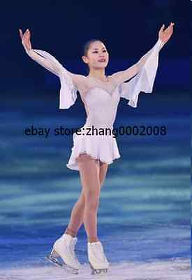Ice skating dress.white Competition Figure Skating dress.Baton Twirling Costume