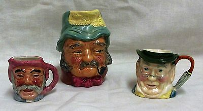 3 Small Vintage Toby Jugs Kelsboro Ware The Gaffer-Sylvac Mr Pickwick- Artone