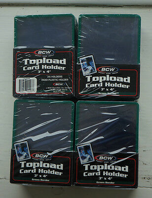 "BCW Topload Card Holders 3x4"" Green bordered 4 Packs of 25"