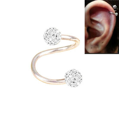 Surgical Steel Twist Helix Cartilage Crystal Ear Stud Body Piercing Earring 16g