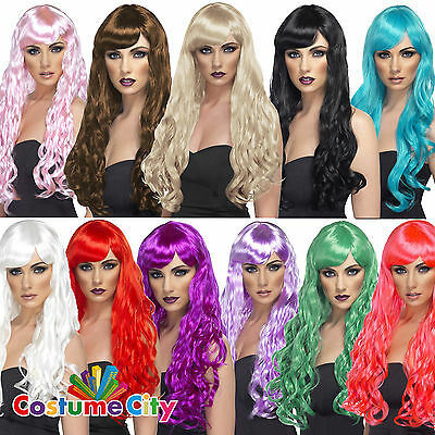 Womens Ladies Long Curly Desire Wig with Fringe Glamour Fancy Dress Accessory