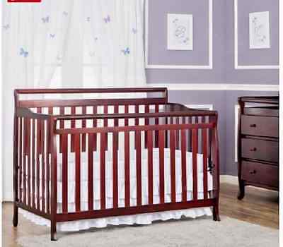 Convertible Baby Crib Cherry Finish Changing Table Toddler Youth Adult 5 In1 Set