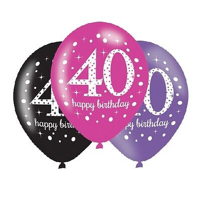 Pink Celebration Happy 40th Birthday Party Helium Quality Latex Balloons 4-30pk