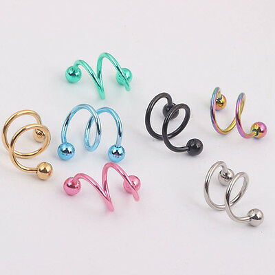 2pc Punk Surgical Steel Spiral Helix Ear Stud Lip Nose Ring Tragus Body Jewelry