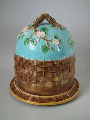 George Jones Majolica Cheese Dome and Stand