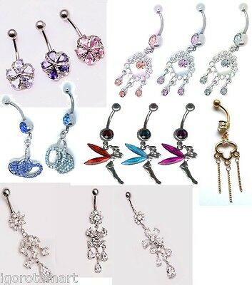 Reverse Curved Bars 925 Sterling Silver Heart Flower CZ Crystal Belly Ring Bar