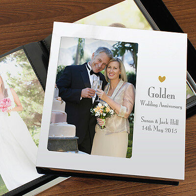 Personalised Decorative Golden 50th Anniversary Photo Album 6x4 Gift For Wedding