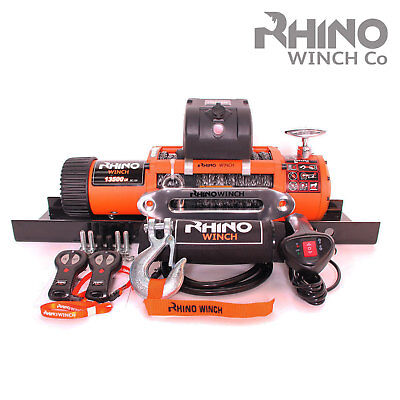 Electric Recovery Winch 24v 13500lb 4x4 Dyneema Synthetic RHINO + Mounting Plate