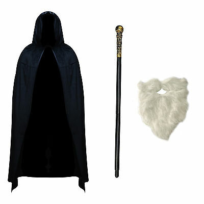 Adult Wizard Sorcerer Fancy Dress Costume (Cape, Staff & White Beard)
