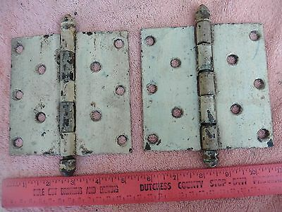 "2 Vintage hinges 5"" large hinge cast iron painted barn country door salvage part"
